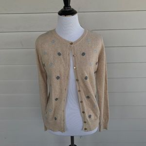 Hekla & Co Tan Dotted Cardigan Sweater Italy New